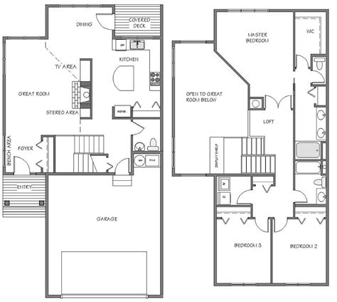 townhouse floor plans with garage floorplans