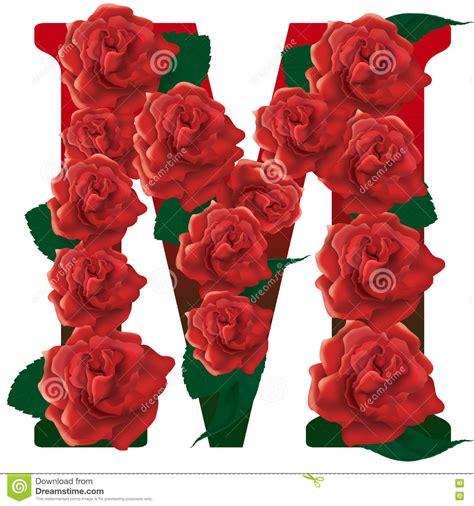 Pelangsing C N R ejemplo de las rosas rojas de la letra m foto de archivo
