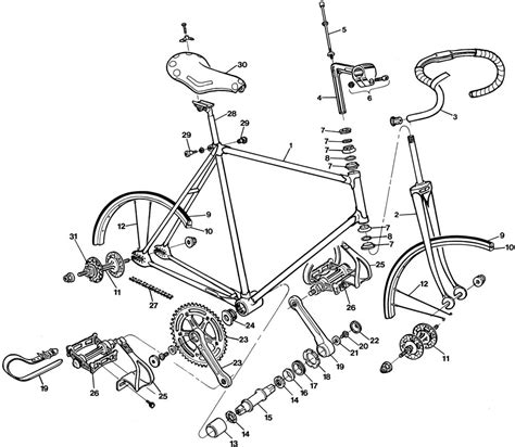 bicycle parts diagram raleigh track bike dl175 bicycle exploded drawing from