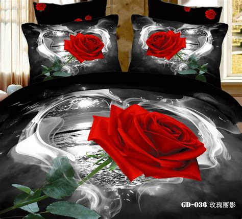 red rose comforter set 6pcs fashion unique red rose black printed 3d bedding sets