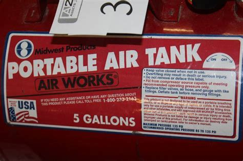 midwest products air works  gallon portable air tank bearpath moving sale  bid