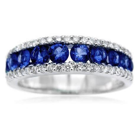 Wedding Bands With Sapphires And Diamonds by 34ct And Blue Sapphire 18k White Gold Wedding