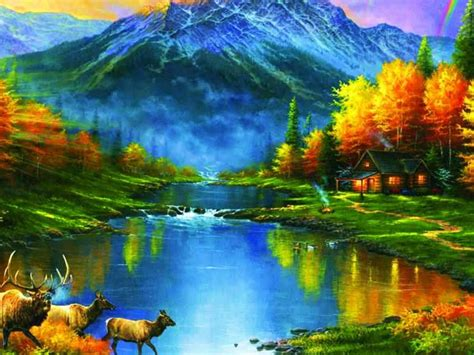 mountains  fall trees leaves lakes colors ultra hd
