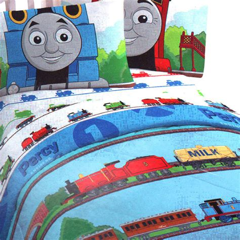 thomas the train twin bed set thomas train ride rails 4pc twin single bedding set