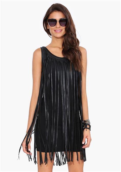 Fringe Leather leather fringe dress in black fashion dresses