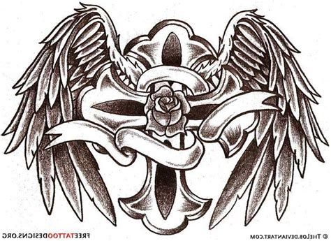 tattoos of crosses with angel wings grey ink cross and wings tattoos designs