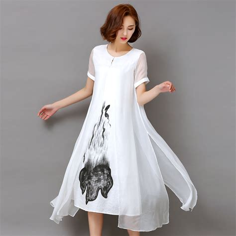 Dress Model Casual Black Style Number Impor buy fashion2017 new summer white black ink print dress retro sleeve
