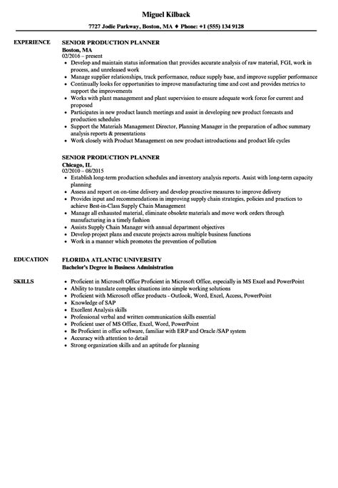 Production Planner Resume by Senior Production Planner Resume Sles Velvet