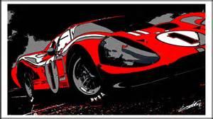 awesome Chambre Rouge Et Blanc #2: Tableau-voiture-sport-Ford-GT-40-noir-blanc-rouge-peinture.jpg