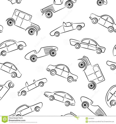 doodle car vintage cars doodles pattern stock vector illustration