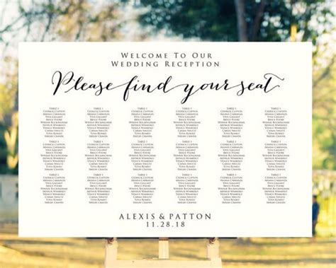wedding font for seating chart 139 best seating chart templates images on