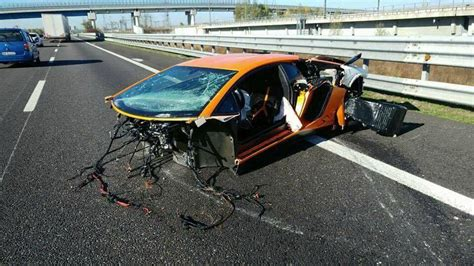 crashed lamborghini veneno lamborghini aventador sv torn apart in high speed crash in