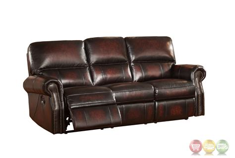 Burgundy Leather Reclining Sofa Burgundy Lay Flat Reclining 3pc Sofa Set In Top Grain Leather