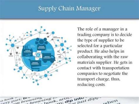 of a supply chain manager in sourcing company