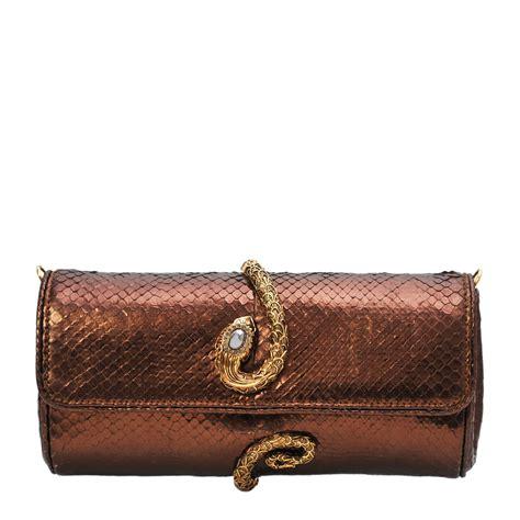 Roberto Cavalli Velvet Snake Wrap Clutch by Roberto Cavalli Bronze Snake Wrap Clutch Labelcentric