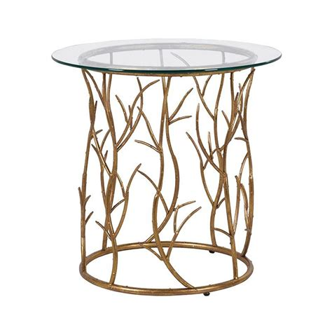 gold glass side table gold vine glass top contemporary side table mulberry moon
