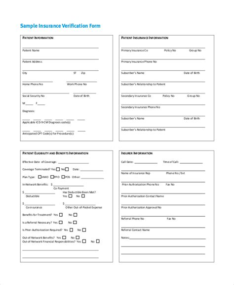Insurance Predetermination Letter Insurance Verification Form Pictures To Pin On Pinsdaddy