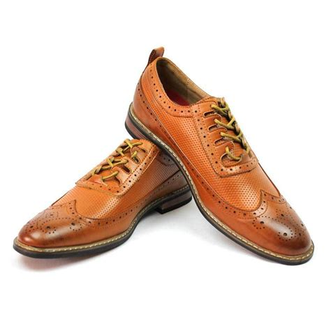 new s dress shoes brown cognac wing tip block hill lace oxfords parrazo w 2 ebay