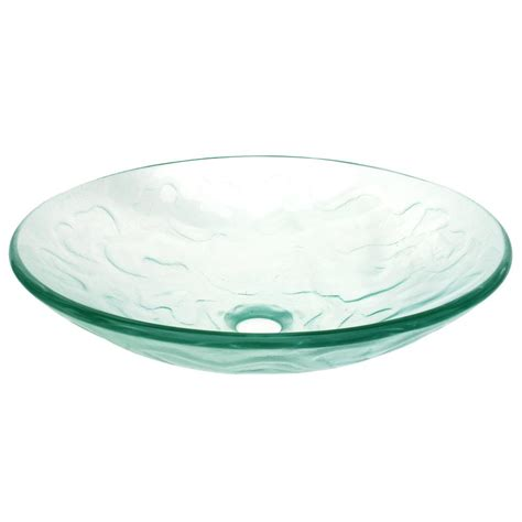 mounting a vessel eden bath embossed waves glass vessel sink in clear with