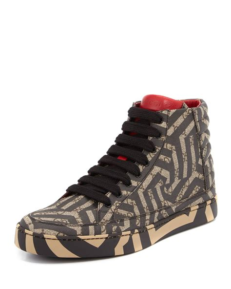gucci sneakers for gucci gg caleido canvas high top sneaker in brown lyst