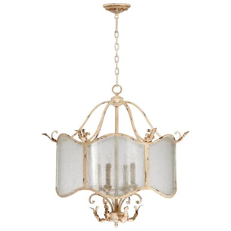 Maison French Country Antique White 4 Light Nook White Antique Chandelier