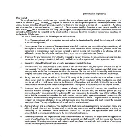 sle mortgage commitment letter 6 free documents in