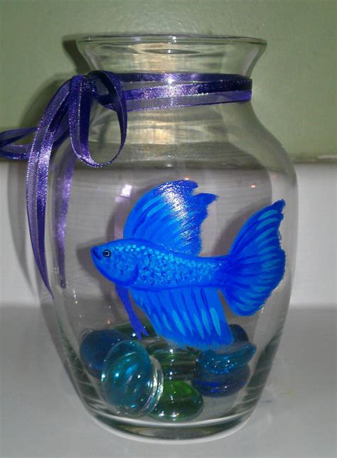 Betta Fish Vase painted betta fish bowl vase you choose by