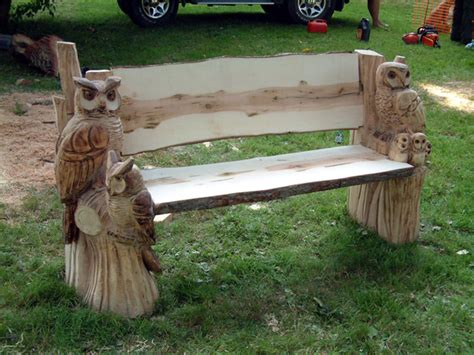 chainsaw bench carving owl bench altham oak