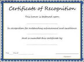 Certificate Of Recognition Templates by Certificate Of Recognition Template Sle Templates