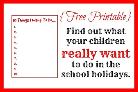 Really Free Finder Free Printable Find Out What Your Children Really Want To Do In The School Holidays