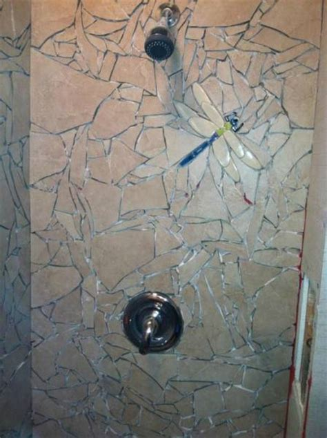 what to do with leftover tile a cool bathroom makeover with broken tiles 9 pics