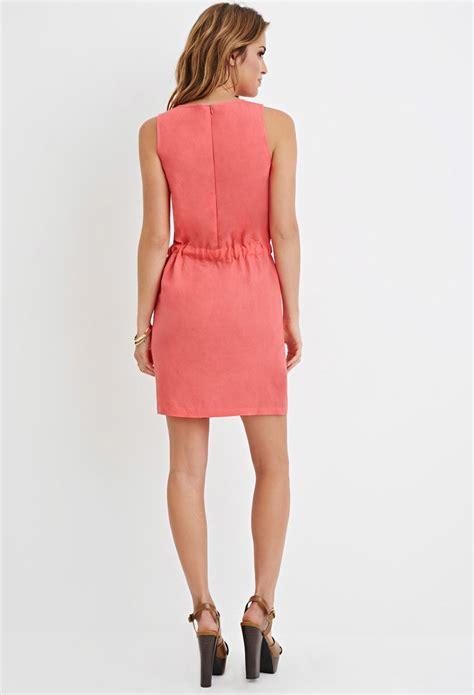 Forever 21 Mini Dress Pink lyst forever 21 drawstring mini dress in pink