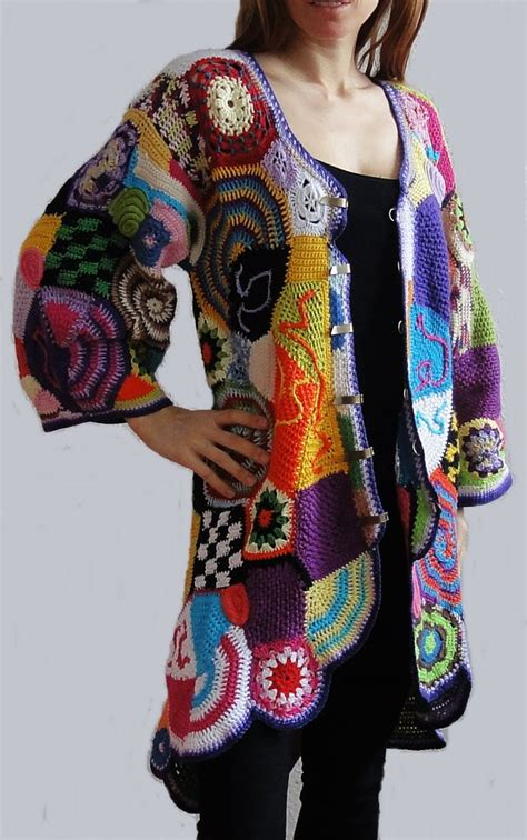 Hippie Patchwork Dress - multicolor cardigan made crochet patchwork vest