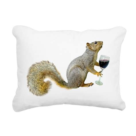 Squirrel Pillow Pet by Squirrel With Wine Rectangular Canvas Pillow By Catsclips