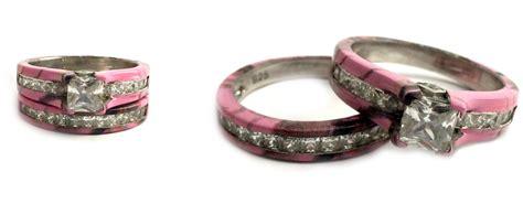 camouflage rings bridal set wedding pink camo
