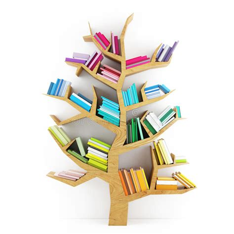 tree of knowledge wooden shelf with multicolor books on