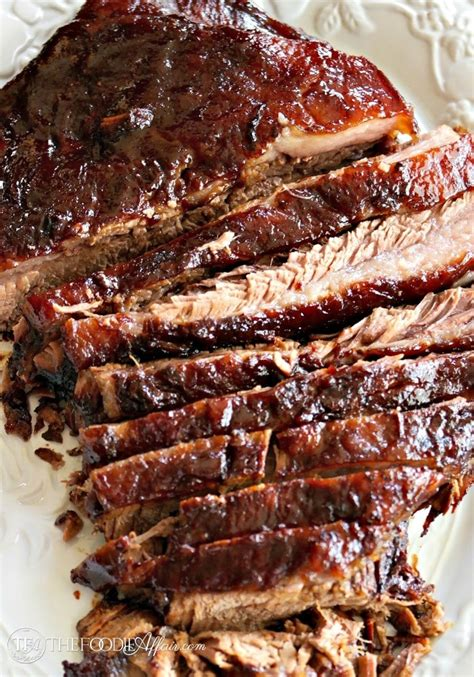 oven cooked barbecue brisket marinated with five ingredients