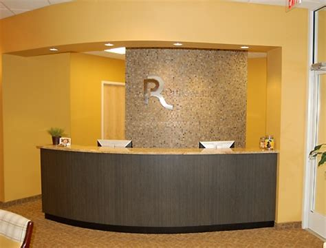 Tiled Reception Desk by Rounded Reception Desk Tile Back Wall New Office