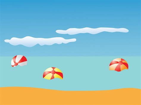 Summer Beach And Balls Ppt Backgrounds Holiday Nature Summer Template Powerpoint