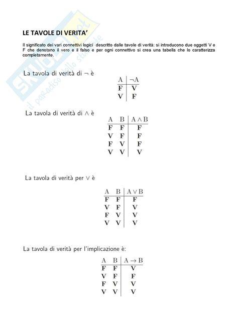tavole matematiche matematica logica le tavole della verit 224