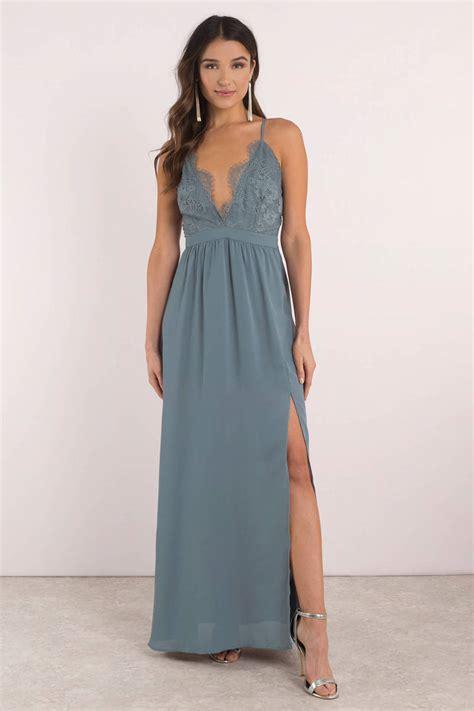 blue maxi dress lace bodice dress blue criss cross back maxi dress 54 tobi us