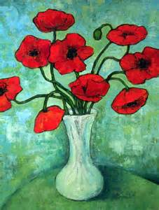 Van Gogh Vase With Red Poppies Stilllife