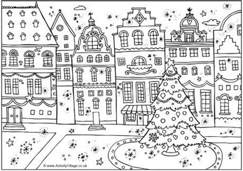 Página da coloração rua festiva   desenhos para colorit