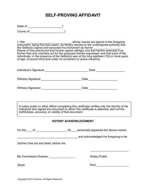 standard affidavit form packing list format in word