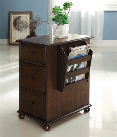 Table With Cabinet And Drawer Furniture Of America Zenners Walnut Side Table With