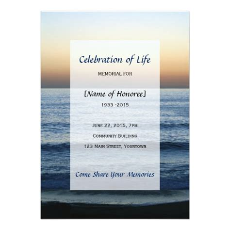 celebration of templates photo memorial celebration of card zazzle