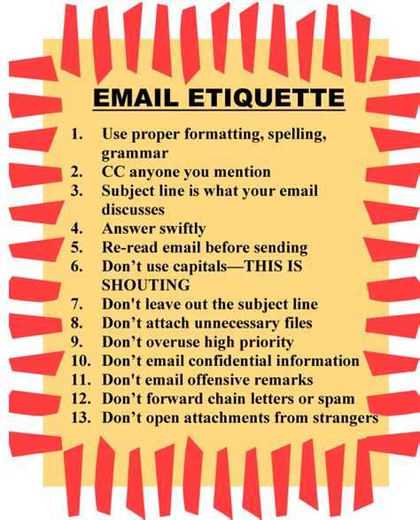 email ethics email etiquette poster