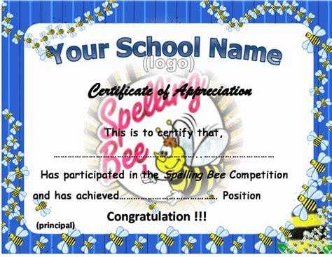 spelling bee certificate template certificates bee certificate  certificate templates
