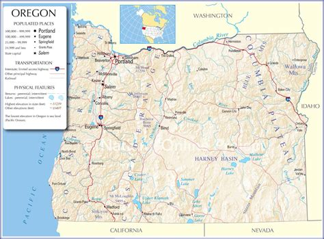 oregon state map oregon state map