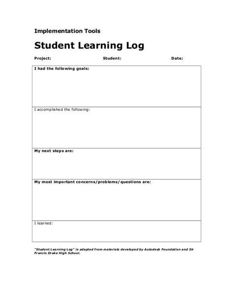 avid learning log template student learning log
